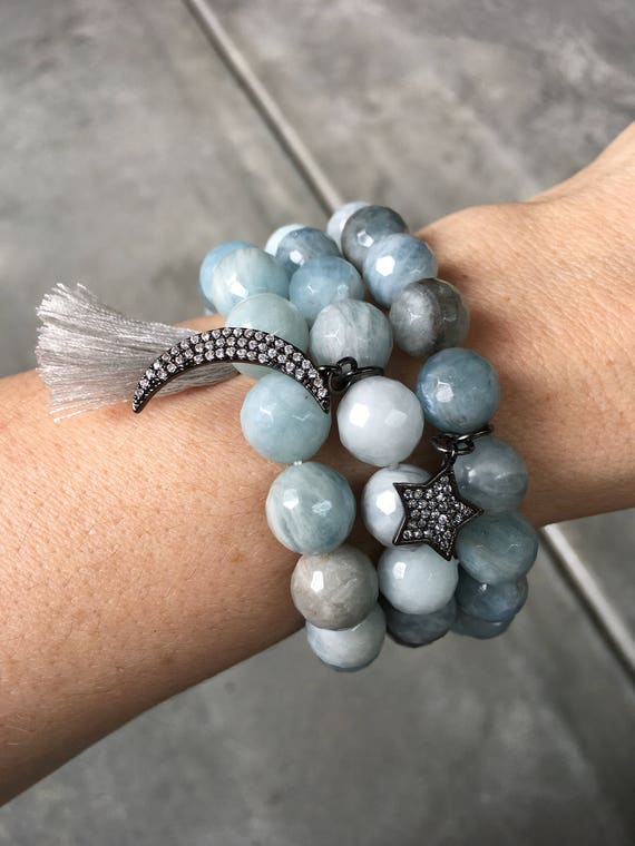 Aquamarine bracelets, March Birthstone Jewelry, moon jewelry, star jewelry, tassel jewelry