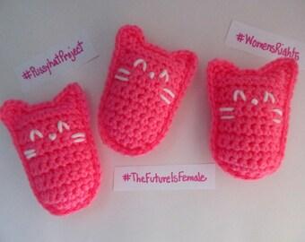 Crochet Pink Pussyhat Kitty Plushie / Pussyhat Cat Keepsake Toy  / Pussyhat Project Cat Amigurumi / Crochet Baby Toy / Stuffed Pussyhat Doll