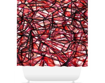 UNCHARTED RED Colorful Art Painting Shower Curtain Washable Decor Monochrome Geometric Crimson Black Lines Pattern Abstract Modern Bathroom