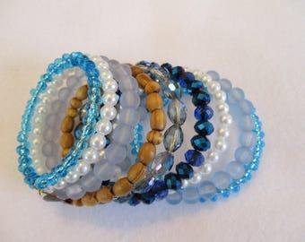 Blue wrap bracelet,8 layered wrap bracelet, Beaded wrap bracelet, Multi colored blue wrap bracelet, Casual wrap bracelet for women