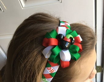 Christmas Mickey Mouse Ribbon Wrapped Headband