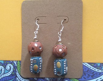 Multi-colored dangle earrings, Bollywood inspired, India inspired