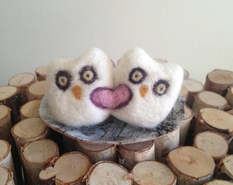 Needle Felted Wedding Cake Topper/ White Snow Owls, Birds/ Handmade/ Ready to Ship