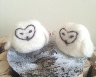 Wedding Cake Topper/ White Snow Owls,Felt Birds/ Handmade/Felted Ready to Ship