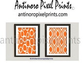 Damask Orange White Print Wall Art Prints Modern Inspired  - Set of 2- 11x14 Prints - Orange White (UNFRAMED)