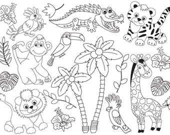 70% OFF SALE Jungle Animals Clipart - Digital Vector Safari Animals, Jungle Animals Clip Art for Personal and and Commercial Use