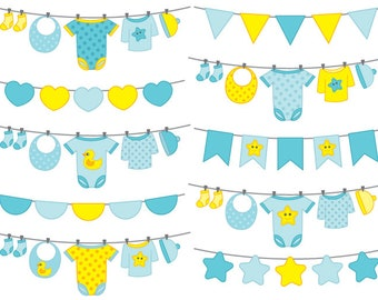 Baby Boy Bunting Clipart - Digital Vector Bunting, Baby Boy Clothes, Baby Boy Bunting Clip Art for Personal and Commercial