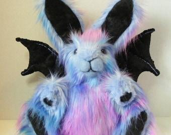 Plush Gothbunny Stuffed Bunny OOAK Fantasy Art Doll Plush Rabbit Easter Bunny Blue and Pink
