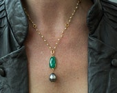 Emerald Necklace, Tahitian Pearl Necklace, Pearl Necklace, Bezel Set Necklace, Silver Pearl Necklace, Birthstone Necklace