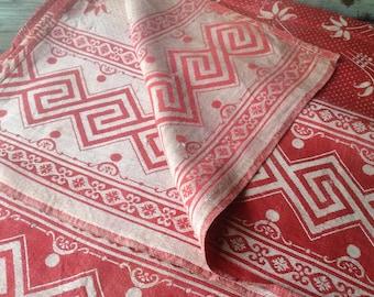 1900s Red Tablecloth Cotton Picnic Greek Key Floral Textile