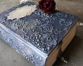 Shabby Chic Watercolor Photo album,Iridescent Blue, Silver