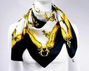 "Authentic Hermes Silk Scarf La Cle Des Champs Gold Black ""H"" Jacquard Early Issue w/BOX"