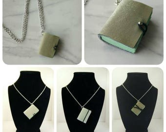 Hogwarts inspired pleather  Slytherin mini book necklace