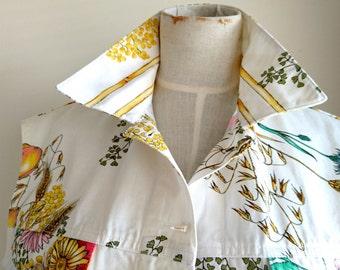 Max Mara Vest/Sleeveless Jacket Vintage - 1980s Designer Vest, Women's - Fantastic Italian Fashion Floral Vest Vintage