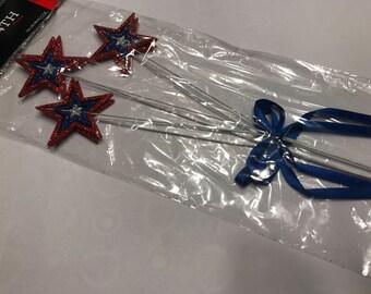 Set of 2 glitter July 4 th picks, 50 mm stars (R5)