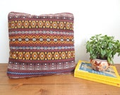 RESERVED FOR BRITT- Surf Shack Ethnic Woven Throw Pillow/Cushion Brown, Yellow, Blue