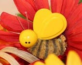 Avon Bumbley Bee Pin for kids fuzzy bumble bee - Vintage 1973