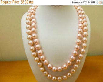 On Sale Vintage Faux Pink Pearl Double Strand Necklace Item K # 1807