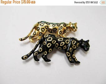 On Sale Retro Enameled Double Leopard Pin Item K # 2641