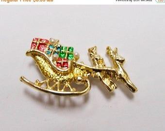 On Sale Vintage Enameled Christmas Sleigh with Reindeer Pin Item K # 1916