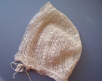 Beautiful Tiny 19thc Antique Knitted Lace Babies Cap - Bonnet Infant - Doll