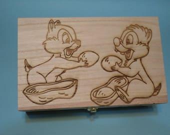 Chip n' Dale Etched Wood Trinket Box