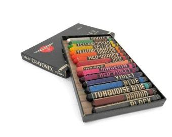 Antique Box of Crayons by Prang Large Size Crayonex American Crayon Company with Original Box