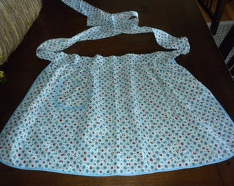 Vintage half apron blue red floral blue piping  pocket 50s fabric