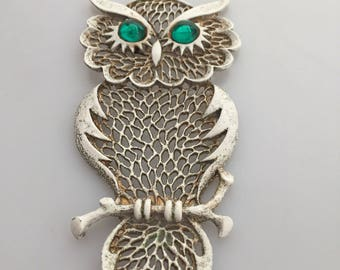 1970s Vintage OWL Necklace OWL Pendant HUGE Enameled Owl Big Owl Green Eyes Vintage Necklace