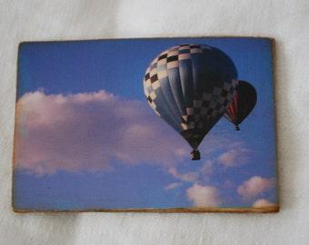 wood photo magnet hot air balloon photograph
