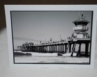 photo card, black and white photo of the Huntington Beach Pier