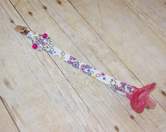 Pacifier Clip, Mulberry Bubbles, Personalization Available, Ready to Ship