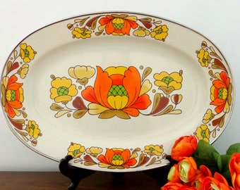 Vintage Sanko Ware Porcelain Enameled Cookware/Platter/Country Flowers/Oven to Table/Mod Flowers/Japan *Price Includes Domestic Shipping