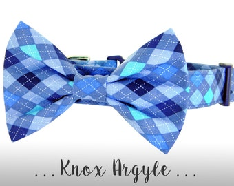 Blue Argyle Dog Collar and Bow Tie; Blue Plaid Bow Tie Dog Collar: Knox Argyle