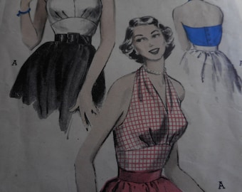Vintage 1950's Butterick 6136 Halter Blouse Sewing Pattern, Size 16 Bust 34