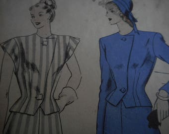Vintage 1940's Vogue 5974 Two Piece Dress Sewing Pattern, Size 16 Bust 34