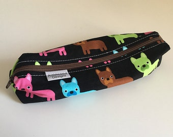 Pencil Case, Pencil Pouch, School Supply – French Bulldog -- Toiletry & Cosmetics Bag