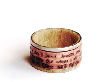 Mens Wedding Band, Copper Ring, Deer Antler Ring, Sterling Silver Band with Custom Text