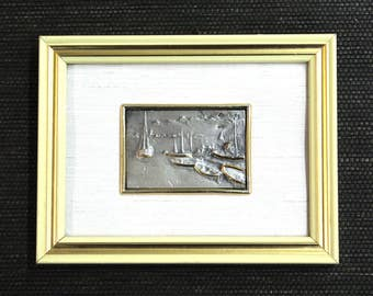 Vintage Sterling Repousse Art // Creazioni Italy // Italian Boats Harbor // Sterling & Gold // 3D Framed Artwork  // 26927