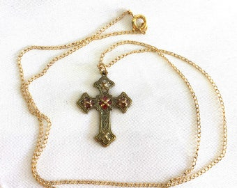 Plique a Jour Cross // Gold Fill Cross // Budded Cross // French Cross // Faith Necklace // 27313