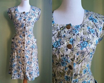 1950s Dapper Apple Dress - Button Front Shift Dress - Medium