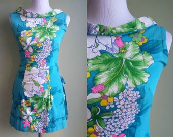 1960s Tiki Oasis Playsuit - Tropical Printed Mini Dress - 2 Piece Set - XS