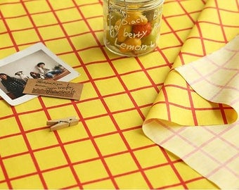Yellow Red Checkered Cotton Blend Fabric - By the Yard 97253
