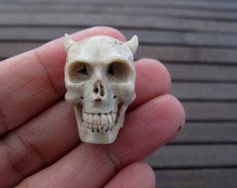 Flat back skull, Intricate carve Devil  skull from deer antler,  Jewelry making supplies B6426