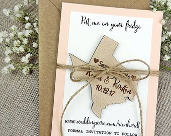 Texas Save The Date Magnet, Wooden Save the Date Magnet for Amber