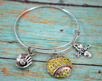 SoftBall Bangle Bracelet ~  Sports Jewelry ~ Girls Love Softball Jewelry ~ Themed Bracelet ~ Rhinestone Softball