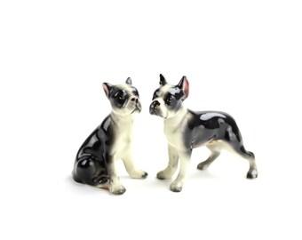 Vintage Dog Salt Pepper Shakers, Boxer Shakers, Reverse Brindle Boxer Salt Pepper Shakers, Dog Figurines, Boxer Figurines, Epsteam