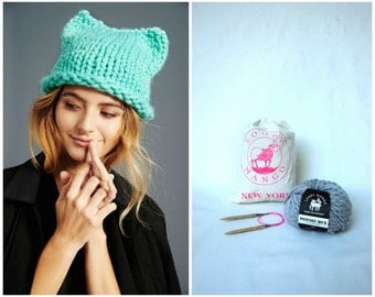 Loopy Mango DIY Kit - Kitty Hat - Chunky Merino Wool