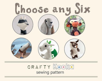 Soft toy sewing pattern bundle, stuffed toy pdf sewing pattern , PDF patterns  bundle of 6 soft toys - indie patterns