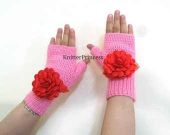Womens gloves, flower gloves, knitting gloves, womens gloves, fingerless gloves, gift for her, valentines day gift, womens accessories